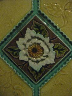 An Art Nouveau Fireplace Surround Tile of a Rose; the George Hotel - Lydiard Street, Ballarat