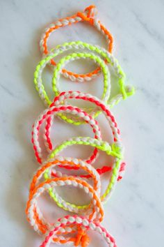 DIY: cashmere + neon friendship bracelets