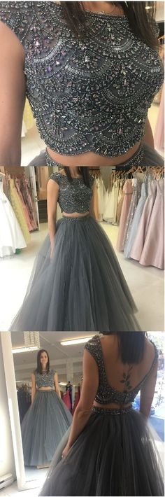 Ball gown two piece prom dresses beaded grey long prom dresses 2018 prom dresses party dresses sweet 16 dresses Prom Dresses 2018, Prom Dresses With Sleeves, Backless Prom Dresses, Prom Party Dresses, Evening Dresses, Formal Dresses, Dress Prom, Dress Long, Beaded Dresses