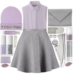 LET´S PURPLE IT! by strayalley on Polyvore featuring moda, Uniqlo, Tiger of Sweden, Converse, Ann Demeulemeester, ASOS, River Island, Forever 21, Korres and Orlane