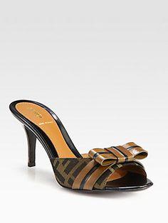 Fendi Pride & Prejudice Jacquard Canvas & Leather Bow Sandals    I LOVE THESE!