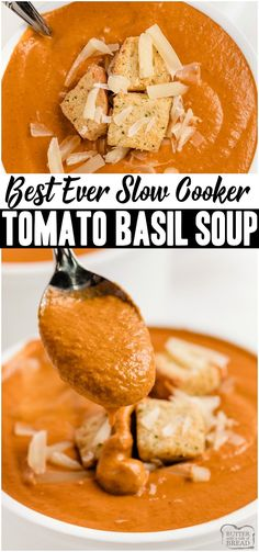 Tomato Basil Soup made with ripe tomatoes Slow Cooker Recipes, Crockpot Recipes, Cooking Recipes, Appetizer Recipes, Easy Dinner Recipes, Summer Recipes, Easy Recipes, Breakfast Recipes, Tomato Basil Soup
