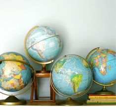 photo of Geography Vintage Globe Collection via etsy Vintage globes seem to be everywhere lately, and I want a piece of the action. Old Globe, Globe Art, Deco Boheme, Vintage Maps, Etsy Vintage, We Are The World, Perfect World, Cartography, Trendy Baby