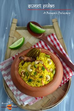 Bengali Sweet Saffron Polau - a popular dish in western India and Bangladesh.