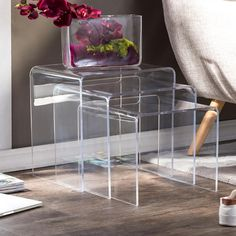 Shop Silver Orchid Glory Acrylic Nesting End Tables (Set of - Overstock - 20543326 Pc Table, End Table Sets, Sofa End Tables, Coffee Tables, Modern Table, Modern Chairs, Living Room Furniture, Modern Furniture, Nesting End Tables