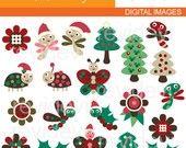 Sale.. Clipart Christmas Woodland 08106.. commercial use digital clip art. $3.90, via Etsy.