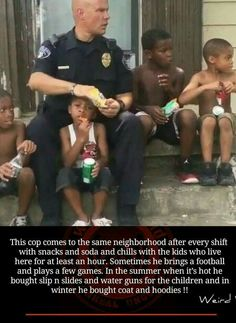 Policeman shows he cares about kids.