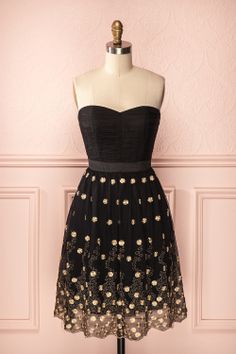 Anatola - Black bustier dress with tulle skirt embroidered with gold