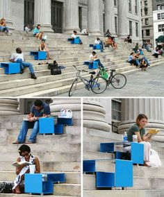 People relax on public steps anyway, why not give them a comfortable way to do so? Stair Squares, by Mark Reigelman, were installed at Brooklyn's Borough Hall in 2007.