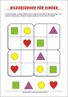 Pictures Sudoku for children! Free Sudokus for preschool and grade … - Grundschule Printable Shapes, Printable Puzzles For Kids, Preschool Printables, Worksheets For Kids, Visual Perception Activities, Math Challenge, Shapes For Kids, Sudoku Puzzles, Craft Projects For Kids