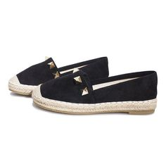Espadrilles with a traditional shape, with a round nose and without any fastening. Made of soft imitation leather imitating suede in black. Inside, finished in a light beige Women's Espadrilles, Espadrille Shoes, Artificial Leather, Light Beige, Black Gold, Studs, Flats, Heels, Fashion