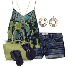 """""""Blue Denim Shorts & Cami Top"""" by colierollers on Polyvore"""