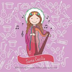 Santa Cecilia, Santa Baby, Arte Sketchbook, Mother Mary, Silhouette Projects, Doll Patterns, Wallpaper, All Saints, Doodles