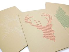 Modern CrossStitch Winter Cards Tree Deer & by OhHelloMagpie, $12.00