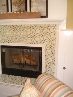 tasty tile fireplace designs. tasty glass tile  little more neutral Fireplace Tile Options by AddisonShaw via Flickr Do It Yourself Pinterest Neutral Glass and redo