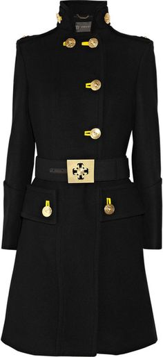 Versace Military Wool Coat in Black