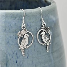 Parrot Earrings, Silver Earrings, Parrot Jewelry, Charm Earrings, Bridesmaid Gift, Gift for Her, Animal Earrings, Dangle, Antique Silver by BangleLand on Etsy