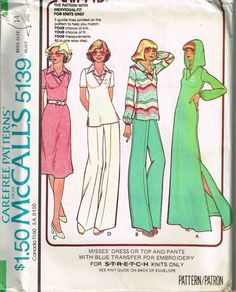 Hooded Caftan Maxi Dress. Tunic Top Wide Leg Pants McCalls 5139 Sewing Pattern by PeoplePackages