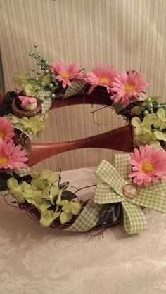Beautiful spring/summer wreath I made for Mary & Rick ' s wedding present