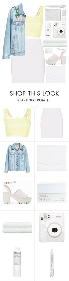 """""""daffodil meadow"""" by charli-oakeby ❤ liked on Polyvore featuring Monique Lhuillier, Helmut Lang, Chanel, Nly Shoes, NARS Cosmetics, Linum Home Textiles, Fuji, Korres and Sephora Collection"""