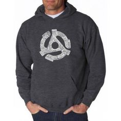 Los Angeles Pop Art Men's Hooded Sweatshirt - Record Adapter, Size: 2XL, Gray