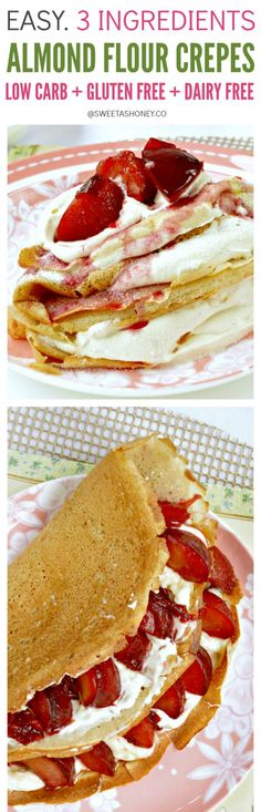 Almond Flour Crepes contains only g net carbs per crepes. Easy 4 ingredients recipes with eggs almond flour coconut oil an Baked Breakfast Recipes, Breakfast Bake, Best Breakfast, Brunch Recipes, Snack Recipes, Diet Recipes, Flour Recipes, Breakfast Ideas, Ketogenic Recipes