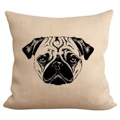 Add a charming touch to your living room or den with this lovely pillow, showcasing a Pug motif for eye-catching appeal.  Product: