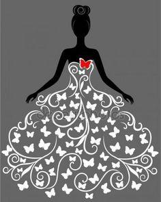 Silueta vector de joven mujer en vestido — Ilustración de stock #19073867