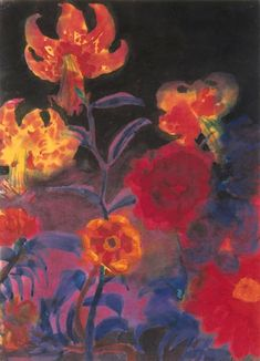 Emil Nolde, Tiger lilies and dahlias - 1930