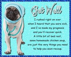 Cute get well diagnosis from the pug. Free online Pug Get Well Wishes ecards on Everyday Cards Get Well Prayers, Get Well Wishes, Wishes For You, Get Well Soon Funny, Get Well Soon Quotes, Morning Hugs, Morning Wish, Healing Wish, Get Well Cards