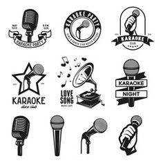 Set of karaoke related vintage labels, badges and design elements. Vector illustration.