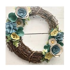 I've a got a case of the Monday blues. And greens. And yellows. • • • #feltflowers #feltflowerwreath #wreath #grapevinewreath #customwreath #feltaddiction #feltcraft #shopsmall #supporthandmade #porchdecor #springwreath #springdecor #soringdecorating #etsy #etsyshop #creative #craftsposure #creativelife #makersmovement #craftymom