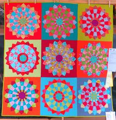 """Lanikai Sunset, 54"""" square,  by Sally Frey of Fortuna CA.  2015 Sisters Outdoor Quilt Show. Photo by First Light Designs."""