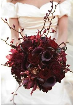 LIZ TOP CHOICE - gorgeous callas in round bouquet with twigs w berries - ELIZABETH loves this monacromatic look - with bridesmaids use this deep purple/burgundy with other colors.