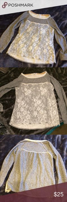 Grey Sweater with Lace Overlay Grey outside and soooo soft inside. Cute lacy overlay that can really be a dressy piece. Needs a good home, worn only once Jolt Sweaters Crew & Scoop Necks