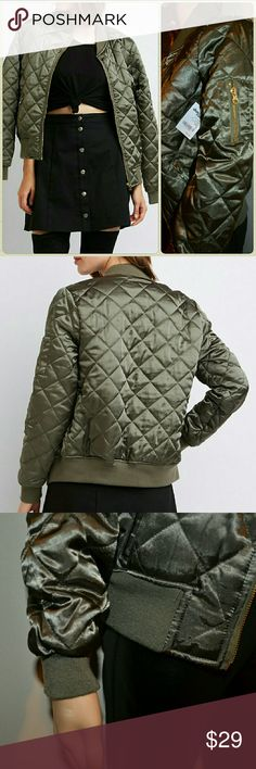 Olive Green Bomber Puffer Jacket ?NWT ?Size Small ?Fully lined inside, olive green on the outside and gold zip details. ?Arm zip pocket feature  **Offers Accepted except on items marked as sale **Bundle to save more! 15% 3+ items  Thank you for visiting my closet. If you have any other inquiries or make offers and bundle, let me know and I'll be more than glad to help   Happy POSH-ing!! Charlotte Russe Jackets & Coats Puffers