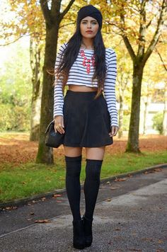 How to Chic: STRIPED CROP TOP - SKATER SKIRT - STATEMENT NECKLACE