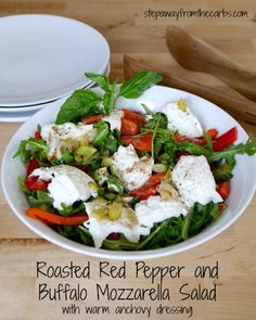 Healthy Salad Recipes Roasted Red Pepper a Food & Drink Healthy Snacks Nutrition Cocktail Recipes Roasted Red Pepper and Buffalo Mozzarella Salad - low carb recipe Gluten Free Recipes Side Dishes, Best Low Carb Recipes, Low Carb Side Dishes, Dishes Recipes, Kitchen Recipes, Healthy Salad Recipes, Paleo Recipes, Healthy Snacks, Banting Recipes