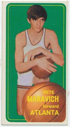 Topps Pete Maravich Rookie - Atlanta Hawks Near Mint Condition! Nike Basketball Socks, Pro Basketball, Basketball Pictures, Basketball Legends, Basketball Players, Basketball Card Values, Sports Sites, Pistol Pete, Sports Images