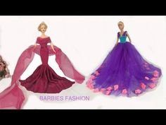DIY ball gown for Barbie Sewing Barbie Clothes, Barbie Dolls Diy, Barbie Sewing Patterns, Barbie Doll House, Crochet Doll Clothes, Diy Clothes, Diy Doll, Barbie Celebrity, Celebrity Dresses
