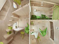 """Smart Student Unit"" is a 100 square foot timber wonder : TreeHugger, swedish hut, tiny house Student Apartment, Student House, Student Living, Student Room, Student Flats, Architecture Design, Microhouse, Mini Loft, Sleeping Loft"