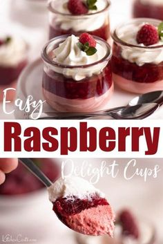 Raspberry Delight Cups A raspberry dessert made with raspberry jello, raspberries, and whipped topping. Raspberry Delight Cups are delicious and elegant enough for any occasion. Raspberry Jello Recipes, Jello Desserts, Easy No Bake Desserts, Mini Desserts, Delicious Desserts, Easy Raspberry Desserts, Desserts With Raspberries, Mini Dessert Cups, Elegant Desserts