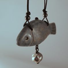 jewelry - blue litlle fish - ceramic