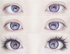 Violet, cartoonish eyes - contacts, black liner and false eyelashes.