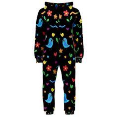 Cute birds and flowers pattern - black Hooded Jumpsuit (Ladies)