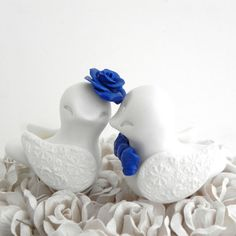 Love Birds Wedding Cake Topper White and Royal Blue by LavaGifts, $62.00