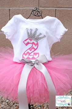 Chevron Birthday Number w/ Crown, Princess Birthday for Girls