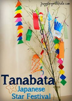 Tanabata 七夕 is a Japanese holiday that is celebrated on July every year. (Although in some places in Japan it is celebrated in August). This holiday came about because of a romantic story… Holidays Around The World, Festivals Around The World, Around The Worlds, Japan For Kids, Art For Kids, Tanabata Festival, Star Festival, Japan Crafts, Japanese Festival