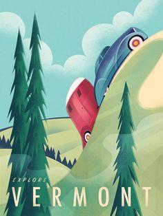 Vintage Travel Poster Camping Vermont, Martin Wickstrom