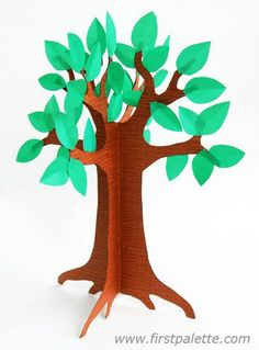 3D Paper Tree craft activity - would make a fun seasonal activity for the kids, make a different one each season!